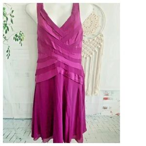 Tadashi Shoji Dress 8 Silk Purple Tier Sleeveless